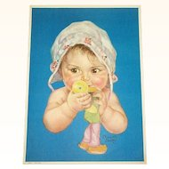 Print Baby With Duck Toy by Charlotte Becker