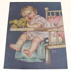 Tired Baby in High Chair With Teddy Bear Print