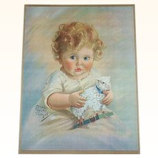 Print of Baby Holding a Lamb Pull Toy