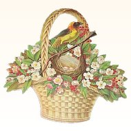 Lg DieCut Basket Bird & Nest Advertising A & P Company