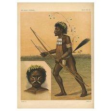 1800's Book Print of A Fierce Black Hunter