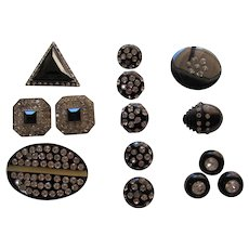 Lot Vintage Black With Rhinestone Buttons
