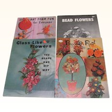 Four Craft Books Bead Flowers Art Foam Fun Blooming Pots Glass Like Flowers