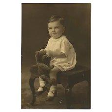 Vintage Sepia Toned Boy & Teddy Bear Photo