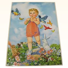 Print Toddler Boy Playing Flute Animals Birds Listen