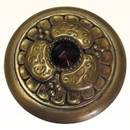 Large Button Brass Stamped Red Jewel In Center