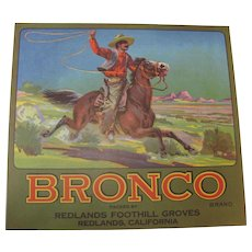 Orange Crate Label Bronco Redlands CA