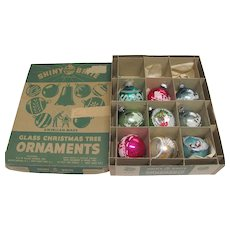Vintage Box Nine Glass Christmas Ornaments