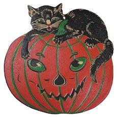 Halloween Black Cat Lying On JOL Embossed Die Cut