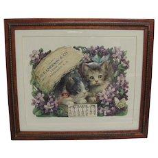Charming Cats & Violets Embossed Die-Cut Calendar 1910 Vintage Frame