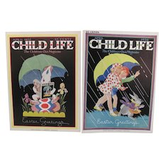 Pair Easter Child Life Covers 1932 1936