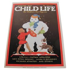 Child Life Jan 1933 Cover Only Snowman