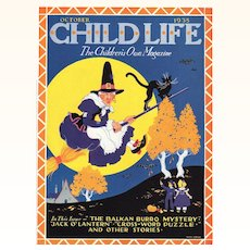 Halloween Child Life Oct 1935 Cover Only Flying Witch Cat On Broom