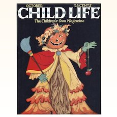 Halloween Child Life Oct 1925 Cover Only JOL Head Scarecrow