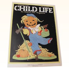 Halloween Child Life Oct 1930 Cover Only JOL Scarecrow