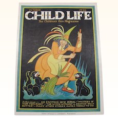 Halloween Child Life Oct 1936 Cover Only Witch Black Cats
