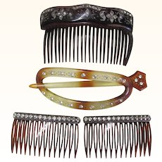 Four Vintage Rhinestone Hair Combs