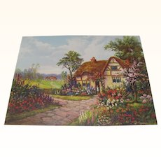 Print of Cottage with Flowers by Will Thompson