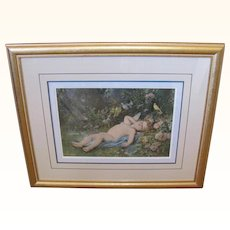 Framed Cupid Laying In Woods Birds On Rose Bush