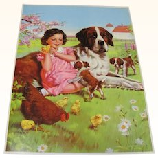 Farm Print St. Bernard Dog With Puppies Girl Hen Chicks