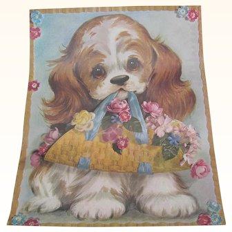 Vintage Spaniel Dog Basket Flowers Print