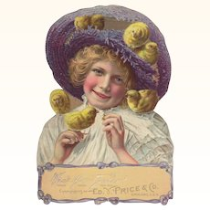 Easter Girl Chicks Embossed Die-Cut Standup
