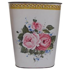 Vintage Double Sided Roses Metal Trash Can