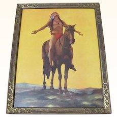 Indian On Horseback Vintage Framed Print
