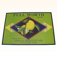 Lemon Crate Label Full Worth Santa Paula, CA