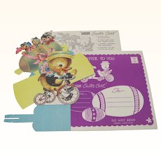 Adorable Gibson Easter Decoration Egg Cart Duck On Tricycle Envelope