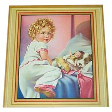 Print of Girl In Bed with Sleeping Doll and Dog