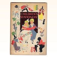 Unused Vintage Children's Stationery Folder Paper & Envelopes