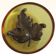 Large Vintage Apple Juice Plastic & Brass Leaf Button