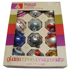 Vintage Box Twelve Glass Christmas Ornaments