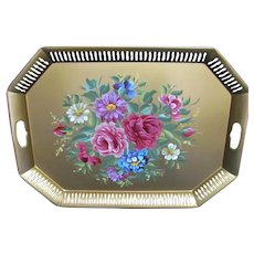 Large Vintage Gold Floral Roses Tole Tray