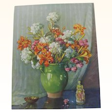 Print Floral Lily Arrangement In Vase by C. Blonner
