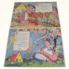 Pair Nursery Rhyme Prints Little Miss Muffet Mary Mary Quite Contrary & Fairies