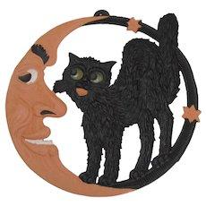 Halloween Crescent Moon Cat Embossed Die Cut Germany