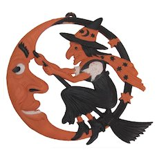 Halloween Crescent Moon Witch Embossed Die Cut Germany