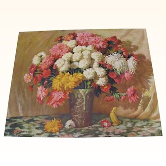 Print Mums and Daisies Arrangement in Vase by J.H. Sharf