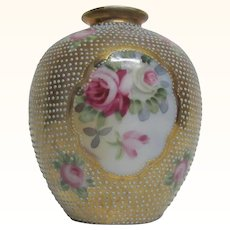 Small Nippon Vase Roses Raised Beaded Design