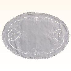Oval Cut Work Doily