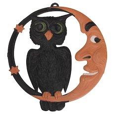 Halloween Crescent Moon Owl Embossed Die Cut Germany