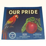 Our Pride Parrot Apple Crate Label
