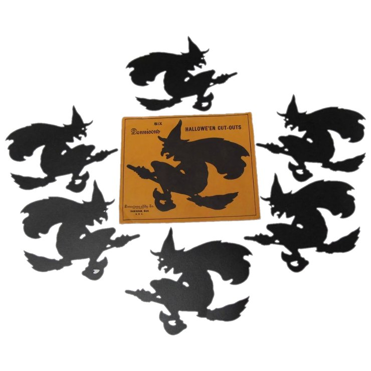 halloween dennison 6 silhouette flying witch on broom with envelope