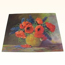 Print Poppies and Blue Flowers Arrangement in Vase by Max Streckenbach
