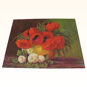 Print Poppies and White Snowball Flower Arrangement in Vase by Max Streckenbach