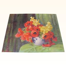 Print Poppies and Yellow Flower Arrangement in Vase by Max Streckenbach