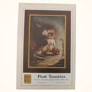 1922 Post Toasties Ad Girl & Dog Sleeping By Fire