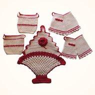 Lot Red White Crocheted Potholders